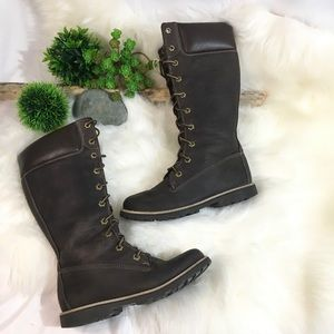 Girls Timberland Brown Leather Lace Up Boots